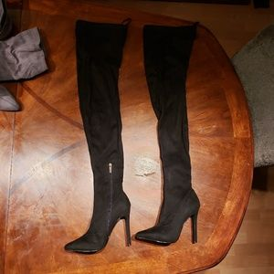 Forever 21 black faux suede over the knee boots